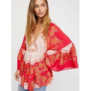"""FREE PEOPLE red """"Sunset Dreams"""" tunic"""